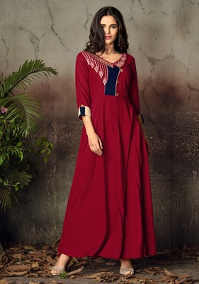 Red embroidered rayon party-wear-kurtis