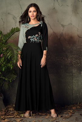 Black embroidered rayon party-wear-kurtis