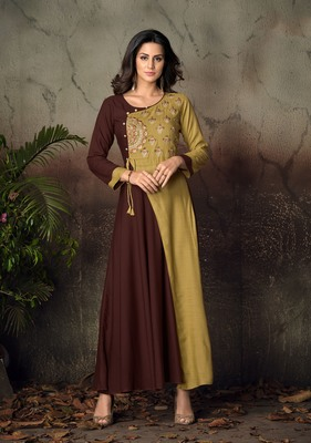 Brown embroidered rayon party-wear-kurtis