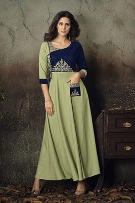 Light-parrot-green embroidered rayon party-wear-kurtis