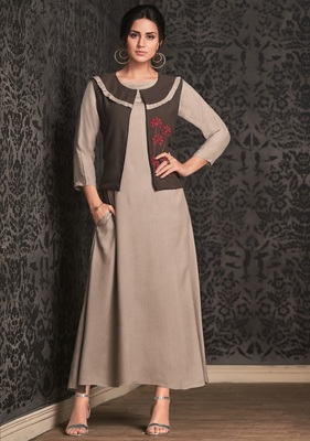 Beige embroidered rayon party-wear-kurtis
