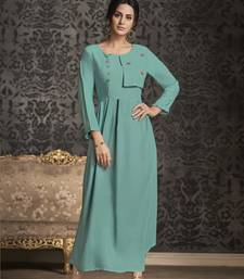 Sky-blue embroidered rayon party-wear-kurtis