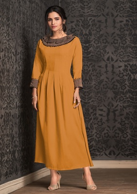 Mustard embroidered rayon party-wear-kurtis