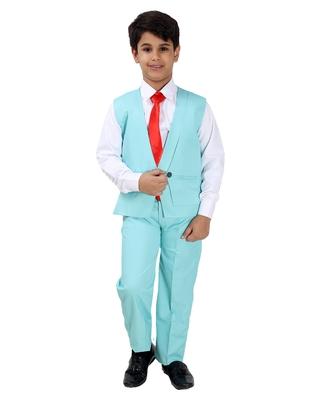Green plain silk blend boys-suit