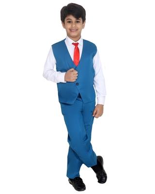 Turquoise plain silk blend boys-suit