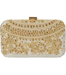 Party Wear Hand Embroidered Box Clutch Bag Purse For Bridal