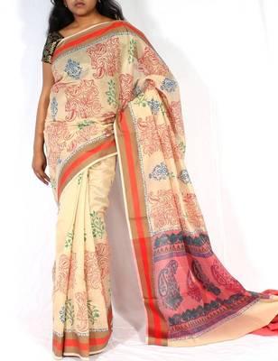 Supernet Fancy Printed Pallu Saree