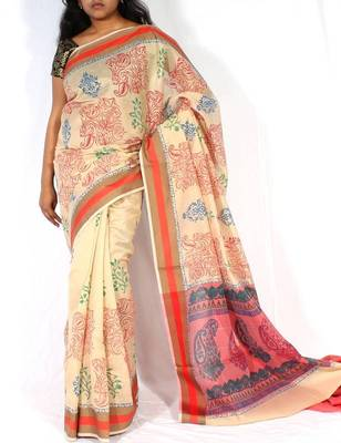 Supernet Fancy Printed Pallu Saree
