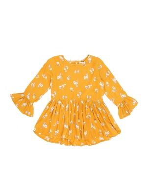 Yellow Plain Cotton Kids Tops