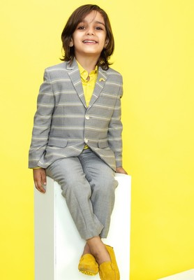 Grey Striped Blazer for Boys