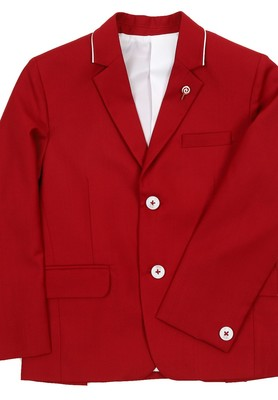 RED NOTCH COLLAR BLAZER WITH PIPING DETAIL ON COLLAR FOR BOYS