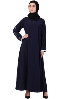 Navy Blue Matt Nida Plain Abaya