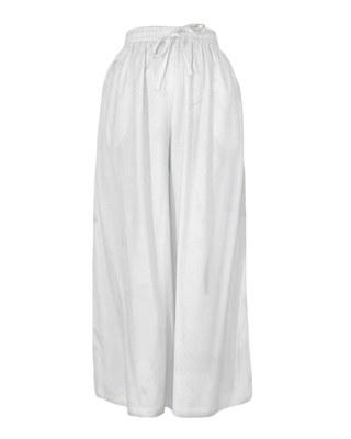 White plain polyester palazzo-pants