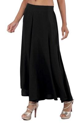 Black plain viscose palazzo-pants