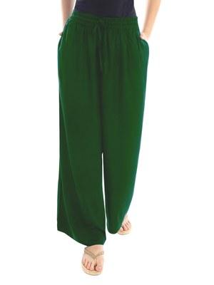 Green plain viscose palazzo-pants