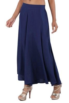 Blue plain polyester palazzo-pants