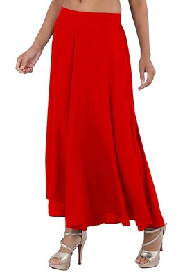 Red plain polyester palazzo-pants