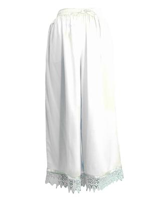 White plain viscose palazzo-pants