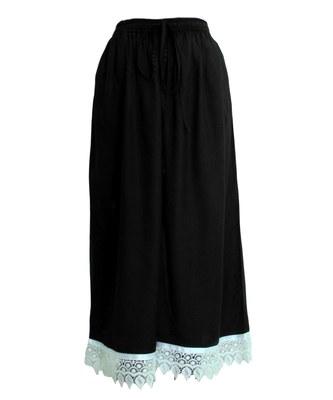 Black plain polyester palazzo-pants