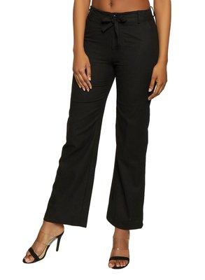 Black plain polyester trousers