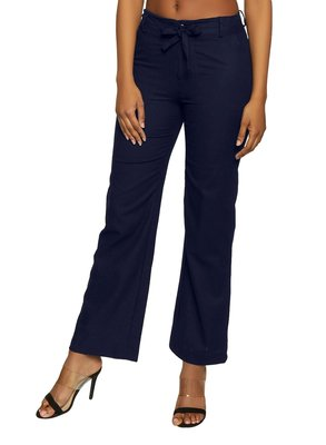 Blue plain polyester trousers