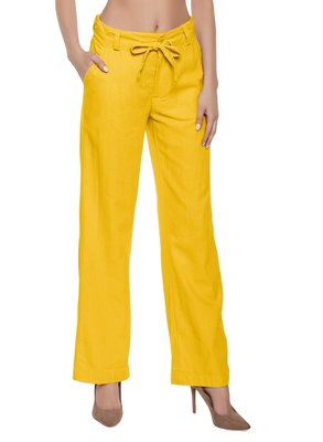 Mustard plain polyester trousers