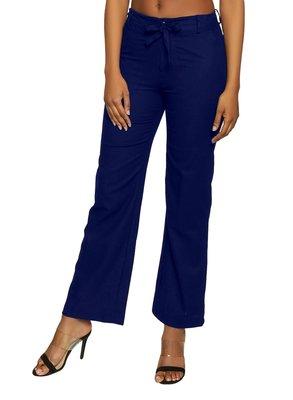 Royal-blue plain polyester trousers
