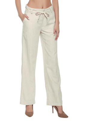 Off-white plain polyester trousers