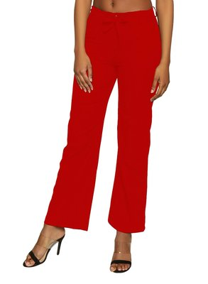 Red plain polyester trousers