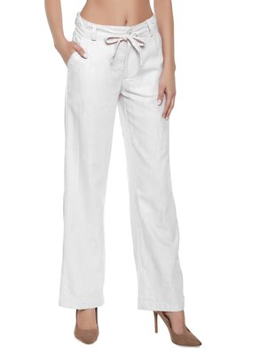 White plain polyester trousers