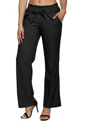 Black embroidered polyester trousers