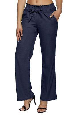 Blue embroidered polyester trousers