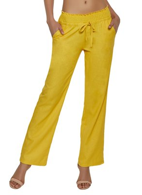 Mustard embroidered polyester trousers