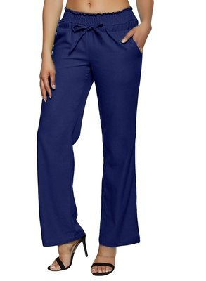 Royal-blue embroidered polyester trousers