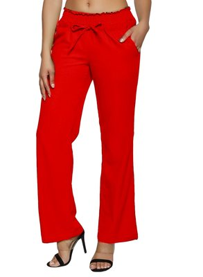 Red embroidered polyester trousers