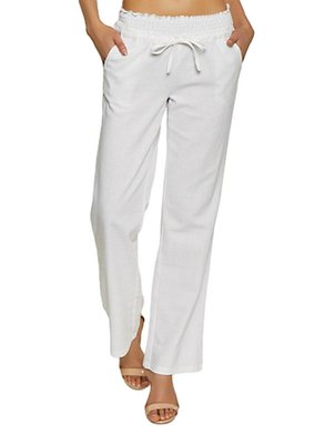 White embroidered polyester trousers