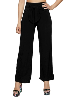 Black plain polyester trousers