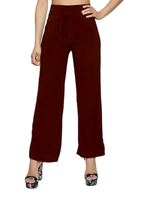 Maroon plain polyester trousers