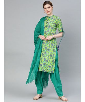 Women Green & Sea Green Floral Straight Cotton Kurti With Salwar & Dupatta