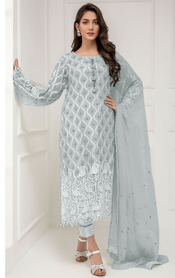 Light-grey embroidered georgette salwar