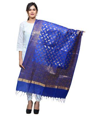 Women's blue Banarasi Kora Silk Zari Dupatta