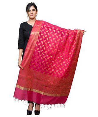Women's pink Banarasi Kora Silk Zari Dupatta