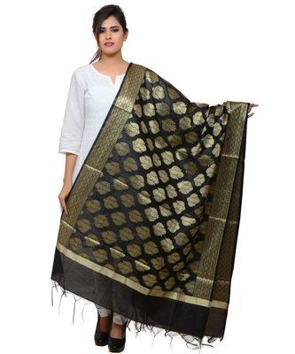 Women's black Banarasi Kora Silk Zari Dupatta