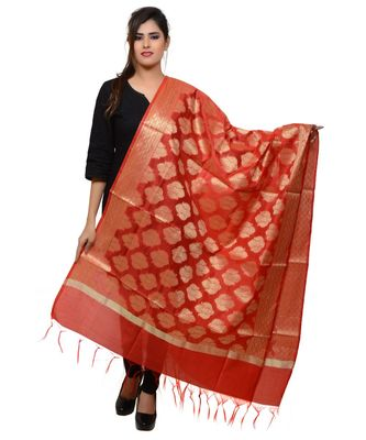 Women's red Banarasi Kora Silk Zari Dupatta