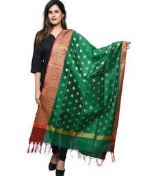 Women's green Banarasi Kora Silk Zari Dupatta