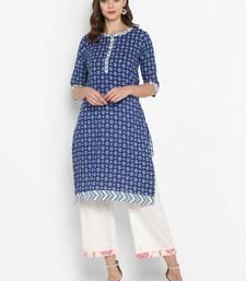 Women blue Printed Straight Kurta