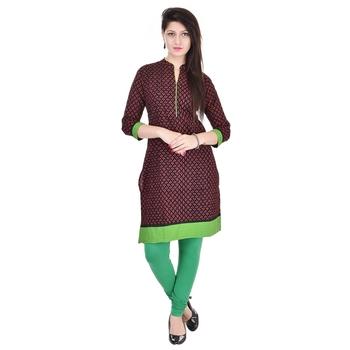 Women Green Printed Straight Kurta