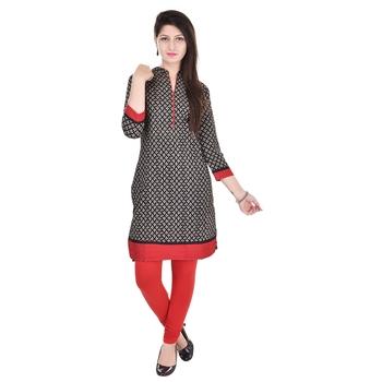 Women Red Printed Straight Kurta