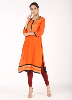 Women Orange Solid Straight Kurta
