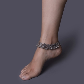 German Silver Anklets With Ghungroo